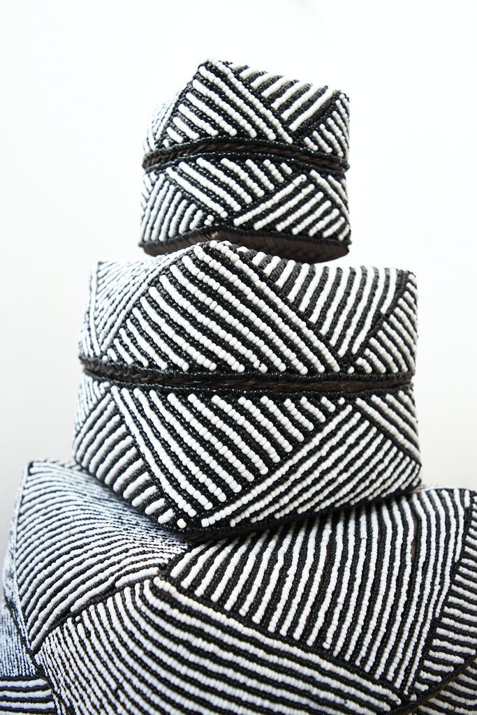 Hand-Beaded Bali Baskets - Black + White Stripes - SaffronAndPoe.com