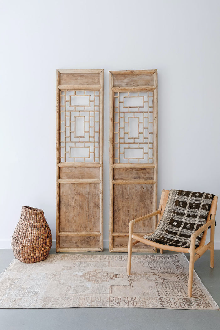 Styled Antique Chinese Doors with Sculptural Nest Basket on a Vintage Turkish Oushak Rug. No 12. - Saffron and Poe.