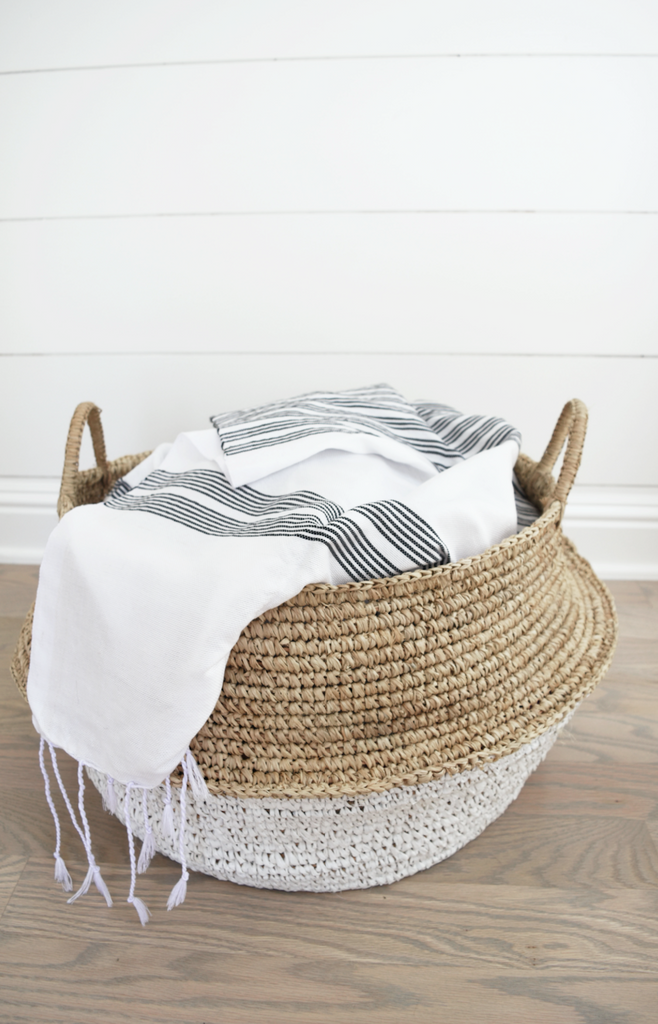 One collapsible woven Hyacinth Storage Accent Basket good for blankets, toys, shoes, collapsible, beautiful and functional, the ideal storage basket! Handmade in Bali using natural and white painted water hyacinth. - Saffron and Poe