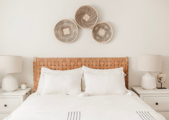 Bedroom styled with our Woven Leather Strap Beige Headboard with Natural Matte Teak wood. Handmade in Bali and made with leather imported from Java. - Saffron + Poe