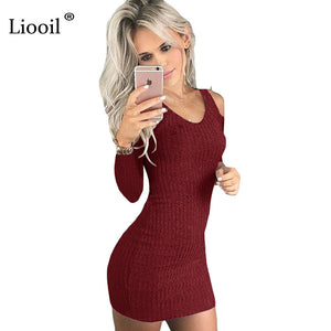 Liooil Atutumn Black Bodycon Dress Long Sleeve Cold Shoulder Backless V Neck  Casual Clothing For Women 266a6a84c0cd