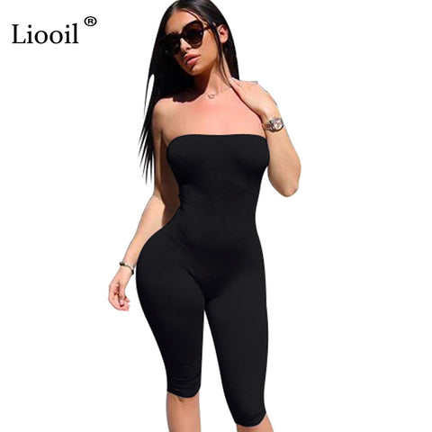 89e6d76c32ac Liooil Black White Rompers Womens Jumpsuit Strapless Off Shoulder Sexy  Romper Backless Bodycon Summer Playsuit Jumpsuits