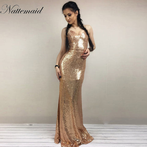 NATTEMAID 2017 Christmas night Party Dress Sexy Women Gold Sequin Long  Dresses Floor length Backless Maxi a365888dd5d5