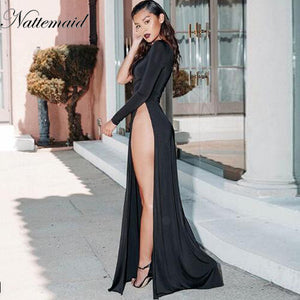 NATTEMAID Fashion Deep V Neck Maxi Dress Women Sexy high split Backless  Evening Party Dresses Nighrtclub 6cf17993d1ce