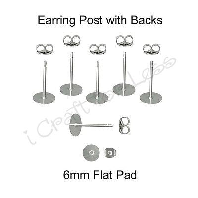 200 (100 Pairs) 6 mm Earring Posts / Butterfly Backs - Surgical Stainless Steel