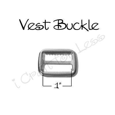 "50 - 1"" Vest Buckle / Suspender Slide Adjusters with Teeth - Nickel Plated"