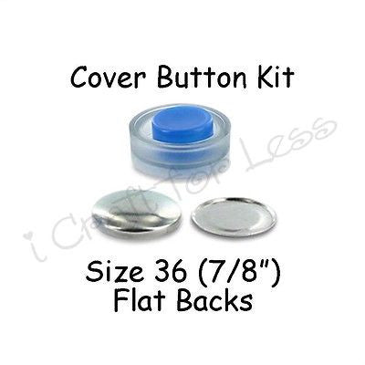 Size 36 (7/8 inch) Cover Buttons Starter Kit (makes 8) with Tool - Flat Backs