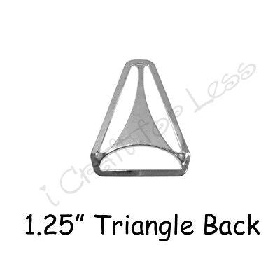"5 Triangle Back Slide Adjusters - 1.25"" Suspender Clips Hardware - Nickle Plated"