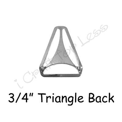 "5 Triangle Back Slide Adjusters - 3/4"" Suspender Clips Hardware - Nickle Plated"