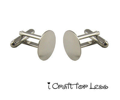 10 Cufflinks Cuff Link Silver Blanks Findings - 15mm Pads