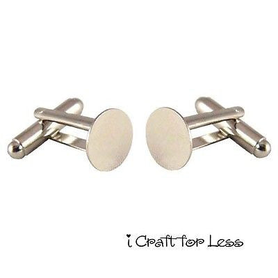 50 Cufflinks Cuff Link Silver Blanks Findings - 10mm Pads