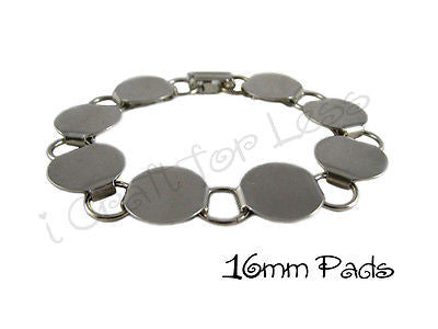 Chunky Disk / Loop Chain Bracelet Blank with 16mm Glueable Pads