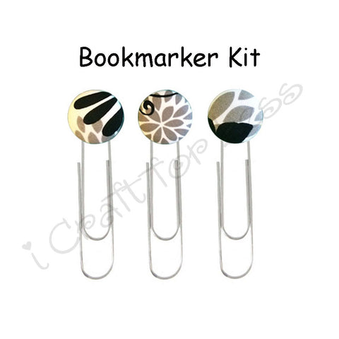 Fabric Covered Button Paper Clips / Book Markers DIY Kit