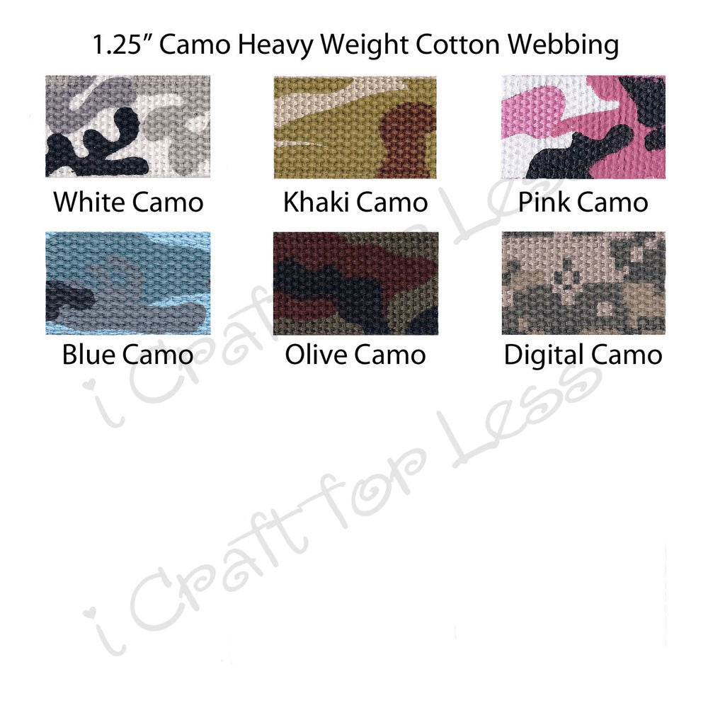 "1.25"" Camo Heavy Weight Cotton Webbing"