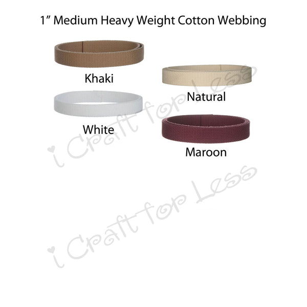 1 Inch Medium Heavy Cotton Webbing Bulk - 50 Yard Rolls