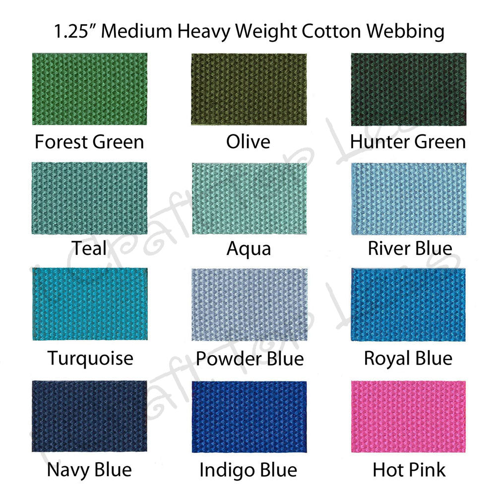 "5 Yards 1.25/"" Medium Heavy Weight Cotton Webbing 44 Colors to Choose"