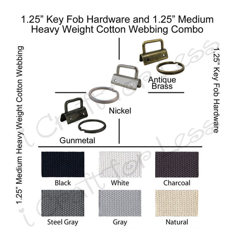 "1.25"" Key Fob Hardware and 1.25"" Medium-Heavy Weight Cotton Webbing Combo"
