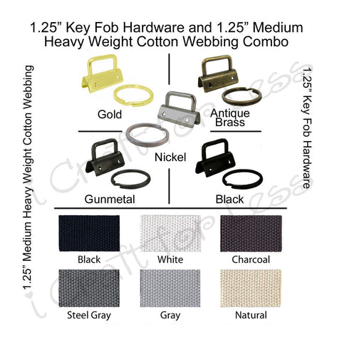 "1.25"" Key Fob Hardware (with Black and Gold) and 1.25"" Medium-Heavy Weight Cotton Webbing Combo"
