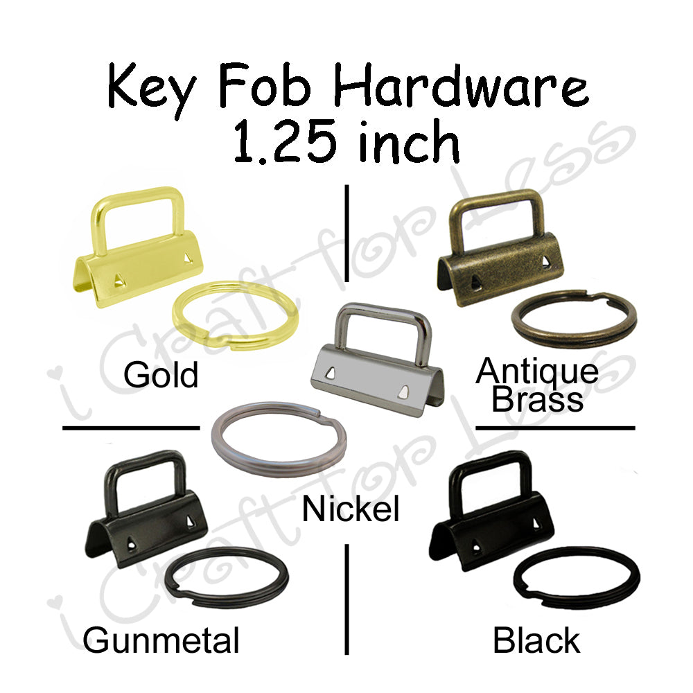 "1.25"" Key Fob Hardware (with Black and Gold) and 1.25"" Heavy Weight Cotton Webbing Combo"