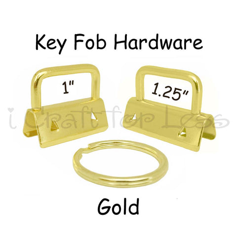 Gold Key Fob Hardware with Key Rings Sets - 1 Inch or 1.25 Inch