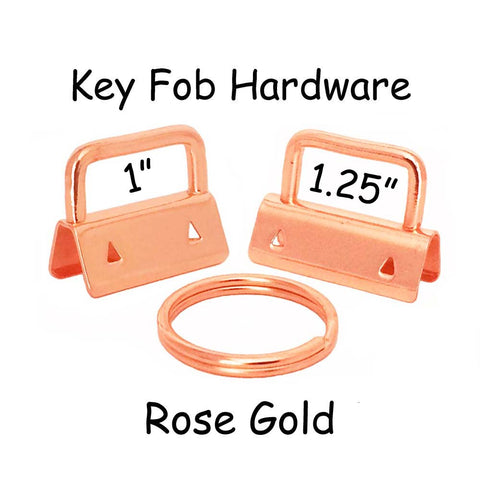 Rose Gold Key Fob Hardware with Key Rings Sets - 1 Inch or 1.25 Inch
