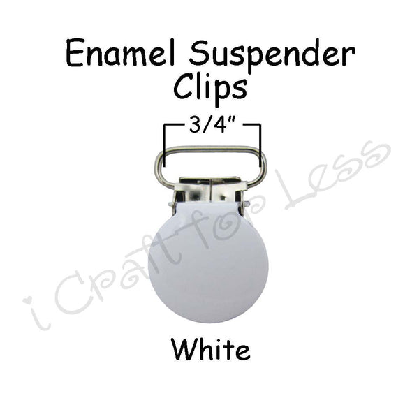 "3/4"" or 1"" Enamel Round Face Suspender Clips"