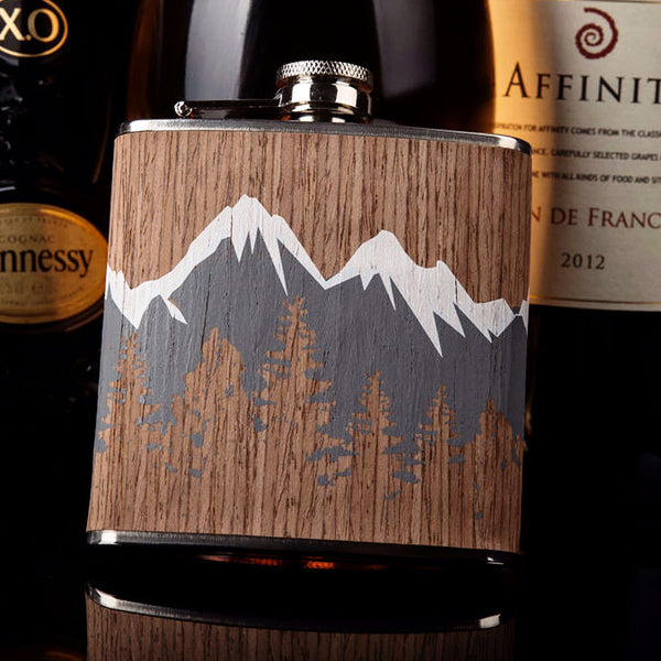 6oz Wood Covered Steel Flask