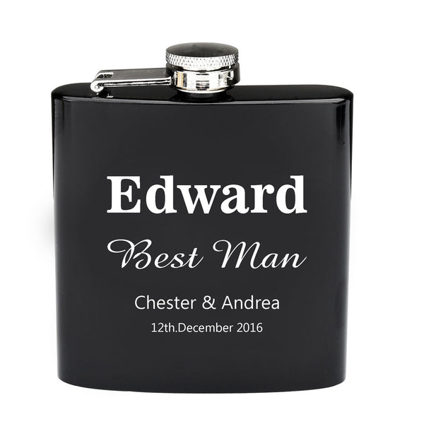Personalized Engraved 6oz Flask Black Stainless
