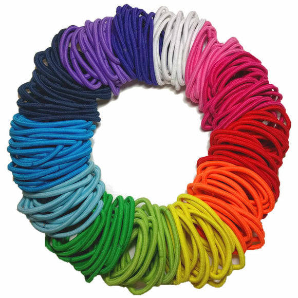 4mm ponytail hair elastics, rainbow assortment
