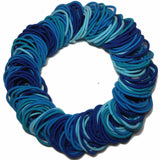 4mm ponytail elastics, blue assortment