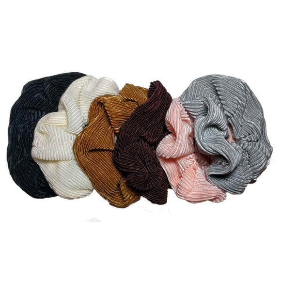 Pleated Satin Scrunchies SET of 6