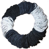 standard 2mm ponytail elastics, black white grey assortment