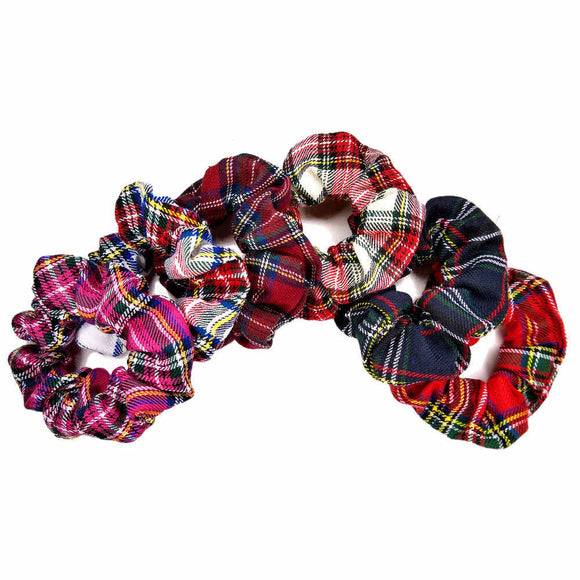 plaid scrunchies, assorted colors