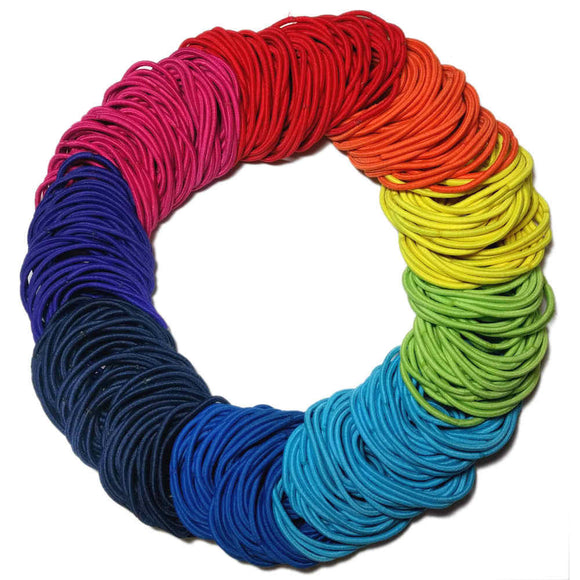 standard 2mm ponytail elastics, rainbow assortment