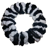 black and white assorted velvet scrunchies
