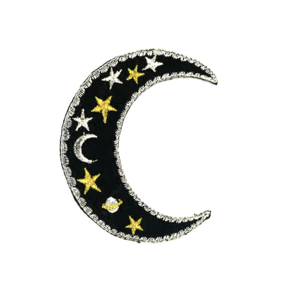 black crescent moon patch