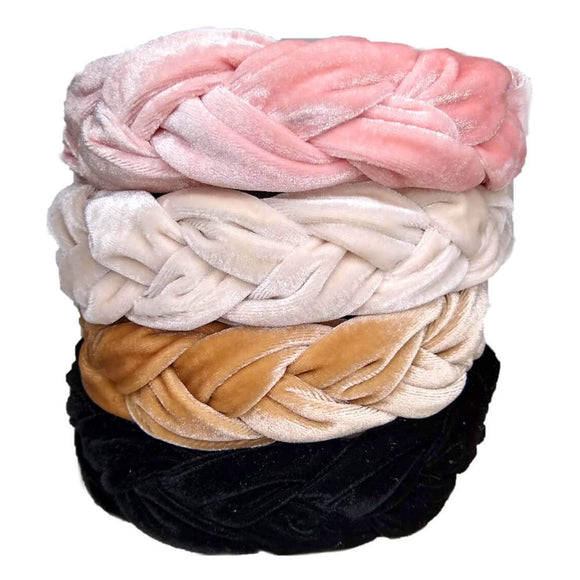 Braided Velvet Headbands - wholesale pack of 6