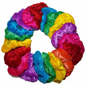 bright assorted velvet scrunchies
