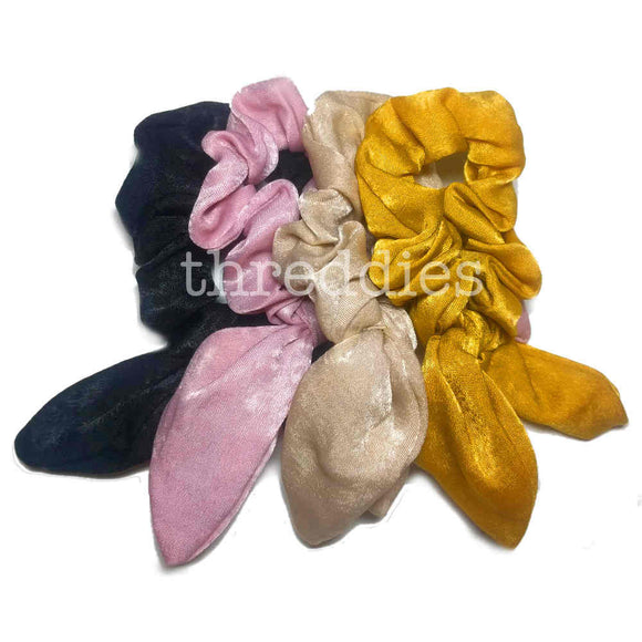 brocade satin scrunchies, 4pc scrunchie pack