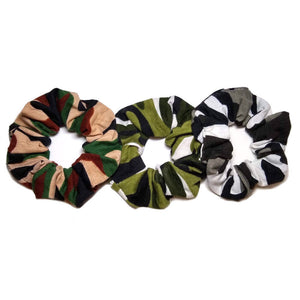 camo scrunchies, bulk scrunchie assortment