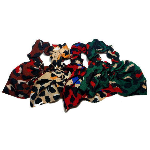jewel tone leopard scrunchies with tails, 4 scrunchie pack