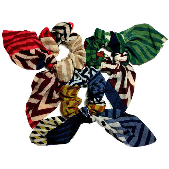 Colorblock Chevron Striped Scrunchies with Tails