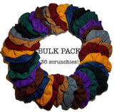 wholesale thermal scrunchies, dark colors, 36 bulk pack