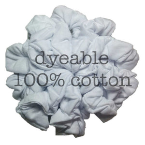 dyeable cotton scrunchies, white