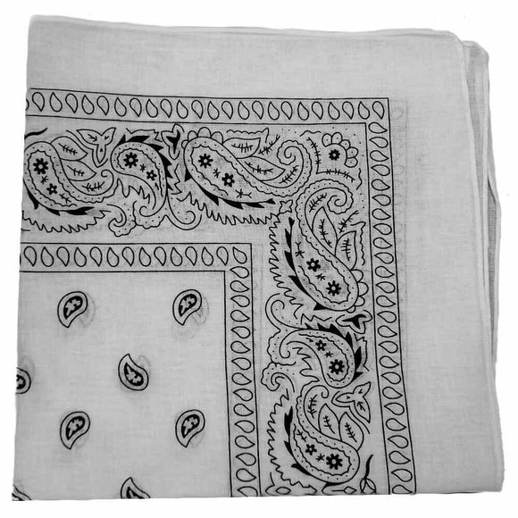 dyeable white cotton bandanas, paisley