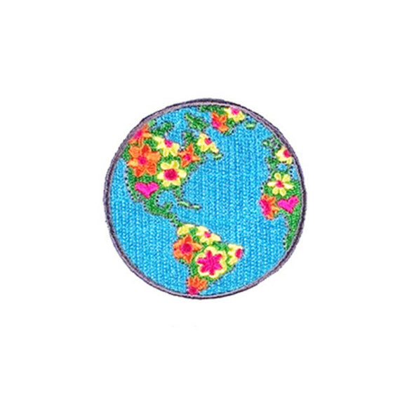planet earth patch with flowers