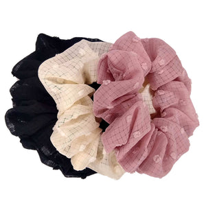 Large Flocked Swiss Dot Scrunchies