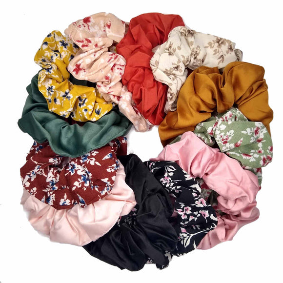 Floral and Satin Scrunchie Mix