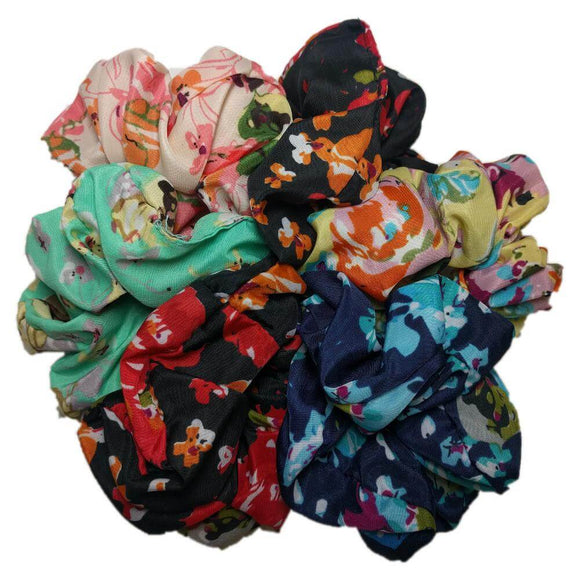 Floral Scrunchie Set of 6