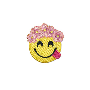 emoji with flower crown patch